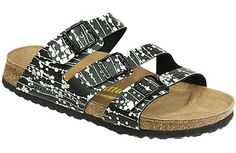 Papillio Orlando Pearl Black/White Birko-Flor Fun new colors and patterns and straps are created seasonally by Papillio to enhance this classic style. Straps sit at a stylish angle and are each adjustable for a custom fit. The cork footbed is contoured to provide great arch support and comfort. #birkenstock #birkenstockexpress.com  $89