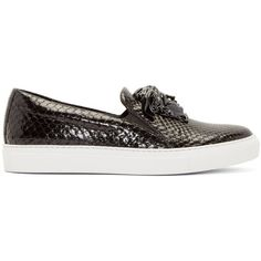 Versace Black Python Slip-On Sneakers ($1,420) ❤ liked on Polyvore featuring shoes, sneakers, snakeskin shoes, slip on shoes, python slip on sneakers, round toe sneakers and shiny shoes