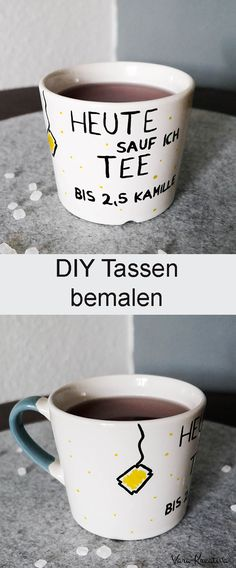 DIY custom cups to paint as a gift - Basteln - Geschenke Diy Gifts For Christmas, Holiday Crafts, Wallpaper World, Fun Crafts, Diy And Crafts, Recycled Crafts, Custom Cups, Painted Cups, Diy Presents