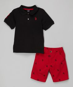 Look what I found on #zulily! Black Polo & Red Logo Shorts - Toddler & Boys by U.S. Polo Assn. #zulilyfinds
