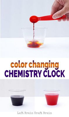 Perfect for Exploring Creation with Chemistry and Physics: Explore the magic of chemical reactions with these color changing chemistry clock experiments. STEM / STEAM learning made fun. Cool Science Fair Projects, Science Activities For Kids, Preschool Science, Science Classroom, Projects For Kids, Science Ideas, Stem Activities, Diy Projects, Elementary Science