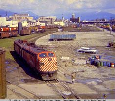 Canadian Pacific 1408 from the roof of the roundhouse, Drake st, Vancouver, 1973 Richmond Vancouver, Vancouver Bc Canada, New York Central Railroad, Canadian Pacific Railway, Old Trains, Train Engines, Train Journey, Train Tracks, Model Trains