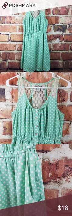 "AMERICAN RAG Mint Green Polka Dot Lace Back Dress Product Description  Women's American Rag Cie Sleveless Dress Mint green w/ polka dots & lace back detail Pre-owned in good condition. No stains, rips or holes.   Tag Size: M pit to pit: 16"" shoulder to hem: 36"" *all measurements are approximate and taken with the item laying flat.   A4-3 American Rag Dresses"