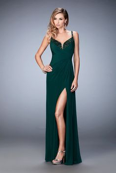Side Slit Long Forest Green La Femme 21947 Prom Gown 2016