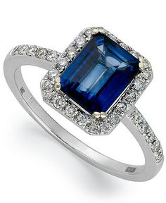 Velvet Bleu by EFFY 14k White Gold Diffused Sapphire (1-3/4 ct. t.w.) and Diamond (1/4 ct. t.w.) Rectangle Ring