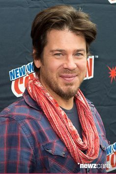 Actor Christian Kane attends TNT Network's 'The Librarians' press room during 2014 New York Comic Con Day 2 at Jacob Javitz Center on October 2014 in New York City. (Photo by Michael Stewart/WireImage) Christian Kane, Beautiful Blue Eyes, Beautiful Men, Chris Kane, John Kim, Rebecca Romijn, Mullet Hairstyle, Into The West, Celebs