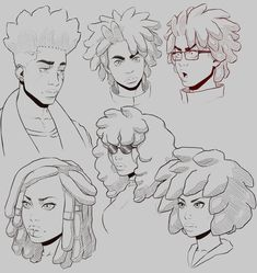 Faces 2018 - Ok but this is very cool the lineart is so smooth - Drawing Reference Poses, Drawing Poses, Human Reference, Hair Reference, Art Sketches, Art Drawings, Black Anime Characters, Arte Sketchbook, Poses References