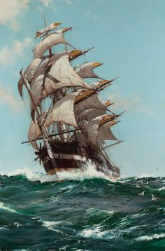"ritasv: "" 'The Crest of a Wave' ~ Montague Dawson I know this crossed my dashboard sometime in the last week but heck if I can remember who posted it so I'm posting it again because one can never have too much pretty. """