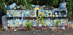mosaic cinder blocks  LOVE THIS... with the fish on top