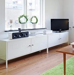 The Ikea classic - PS Cabinet in white. Photos from Apartment Therapy. The Ikea PS cabinet is one. Interior Design Books, Wallpaper Interior Design, Interior, Living Dining Room, Home Furniture, Cabinet, Ikea, Ikea Ps Cabinet, Home And Living