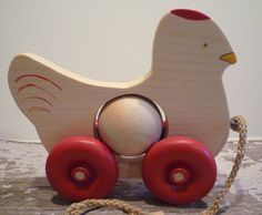 Toy Wood Chicken Detailed with Egg Pull Toy Red Details - Toy Handcrafted Natural Wood Chicken with Red Details and Organic Egg Pull Toy Pulled Chicken, Chicken Runs, Rustic Toys, Water Based Acrylic Paint, Organic Eggs, Pull Toy, Body Painting, Natural Wood, Primitive