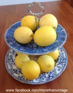 Lemons with blue and white.
