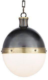 Hicks Industrial Pendant Light, Bronze & Brass -- The clean spherical shape of this pendant adds modernist appeal, while the rivets and brass and bronze finish evoke industrial style. Hardwired.