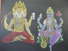 Brahma and Vishnu Chalk Drawing India Waldorf Chalkboard Drawings, Chalk Drawings, Form Drawing, Painting & Drawing, Fifth Grade, Grade 3, World Religions, Classroom Inspiration, Ancient Civilizations
