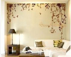 Nursery decal Vinyl Wall Decal Nature Design Tree Wall Decals Chrildren's wall decals Wallstickers Vines Wall Decals with flying birds-DK084