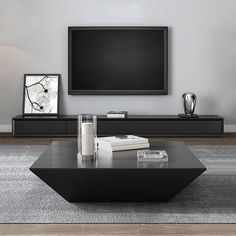 Modern Inch Black TV Stand Rectangle Media Stand Wood TV Console with 3 Drawers Modern Black Coffee Table, Stylish Coffee Table, Black Square Coffee Table, Contemporary Coffee Table, Black Table, Drum Coffee Table, Coffee Table With Drawers, Living Room Designs, Living Room Decor