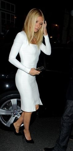 litte white dress- Gwyneth Paltrow outside Mark's club in Mayfair, London