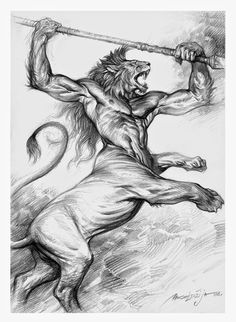 Tribes of Kai by Daren Bader and Lance HaunRogue Black Pen Sketches, Animal Sketches, Cool Sketches, Art Drawings Sketches, Fantasy Paintings, Fantasy Art, Leo Lion Tattoos, Monster Sketch, Goblin Art