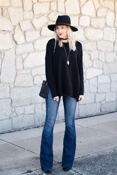 Flare jeans carried over to winter | Love, Lenore #jeansoutfit