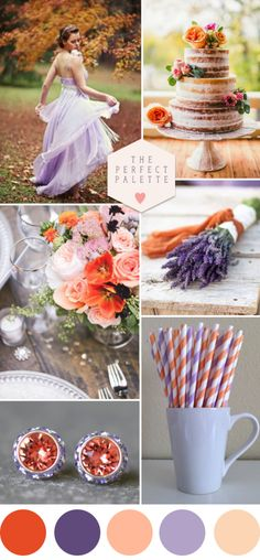 Autumn colour palette of peach and lavender. As an alternative option we could really warm the tones up by omitting the ivory so that it gives more of an Autumnal feel?