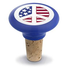 """Peace Usa Ceramic Wine Bottle Stopper w/ Real Cork by HomeAndWine.com. $6.50. Dimensions: 2"""" x 2"""". With real cork. Made of ceramic. This is attractice wine bottle stopper. This is ceramic wine bottle stopper with real cork. Made of real cork. Dimensions: 2"""" x 2"""". Save 60%!"""