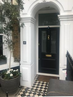Lovely tree panel Victorian front door installed in south London Victorian Front Doors, Cottage Front Doors, Traditional Front Doors, Beautiful London, Entrance Ideas, Front Door Colors, Door Furniture, South London, Kitchen Layout