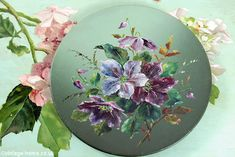 Vintage Home - Victorian Floral Oil on Tin Paintings.
