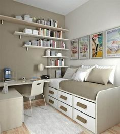 Bedroom. Elegant Bedroom Storage Solution with Wall Mounted Wooden Six Drawers Rectangle White Grey Low Profile Bed and Wall Mounted White Grey Five Wooden Bookcases and also Wall Mounted Wooden Study Desk. Marvelous and Elegant Bedroom Storage Solution Designs