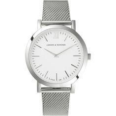Larsson & Jennings Lugano 33mm Watch ($320) ❤ liked on Polyvore featuring jewelry, watches, unisex watches, unisex jewelry, swiss quartz watches, white wrist watch and white jewelry