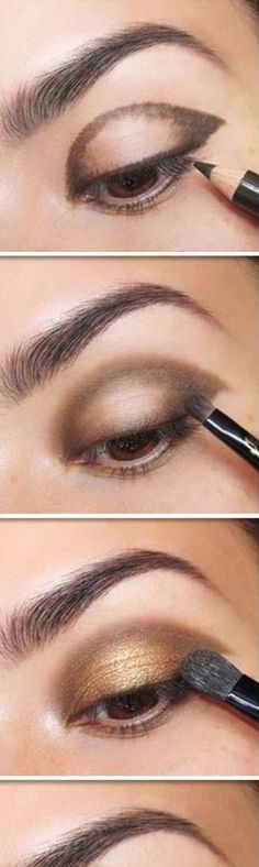13 der besten Lidschatten-Tutorials für braune Augen 13 of the best eyeshadow tutorials for brown eyes How to make the best Smokey Ey …, estimates Gold Eye Makeup, Makeup For Brown Eyes, Love Makeup, Skin Makeup, Beauty Makeup, Makeup Ideas, Pretty Makeup, Best Eyeshadow For Brown Eyes, Brown Eyeliner