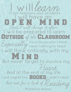 A Learner's Creed - What a great reminder of what it means to be a lifelong learner!