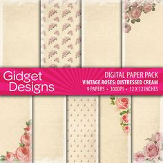 Shabby Chic Vintage Roses Digital Paper Pack by gidgetdesigns