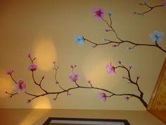 Pintura mural Flores de Cerezo pintadas a mano alzada