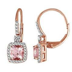 10K Rose Gold Morganite And 1/5Carat Tdw Diamond Earrings (G-H, I2-I3) by JewelryHub on Opensky