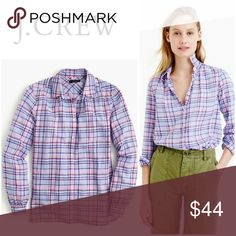 """J. Crew Gathered Popover Shirt Plaid Lilac Size 2 J. Crew Gathered Popover Shirt Plaid Lilac Size 2   Fabric is Cotton  Measurements are below, taken straight across with the garment laying flat  Bust - 18.5"""" Length -26"""" Sleeves - 23"""" J. Crew Tops"""