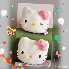 pair soft plush Hello Kitty car headrest pillows Brand new pair Hello Kitty car cushion headrest pillows pinky polka dots bow on each head front side back are also pinky polka dots with pink elastic can hold to car seats Hello Kitty Accessories