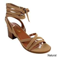 Show confidence when you walk in the city wearing these heel sandals with a medium width. Crafted from faux leather, this footwear lasts despite frequent use, and it has a lace-up closure that keeps i