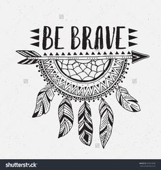 Boho template with inspirational quote lettering – be brave. Vector ethnic print… Boho template with inspirational quote lettering – be brave. Vector ethnic print design with dreamcatcher. Easy Doodle Art, Doodle Art Designs, Doodle Art Drawing, Drawing Quotes, Zentangle Drawings, Cool Art Drawings, Art Drawings Sketches, Simple Doodles Drawings, Mandala Art Designs