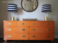 Benjamin Moore Orange Burst Campaign Dresser {by: Phoenix Restoration}