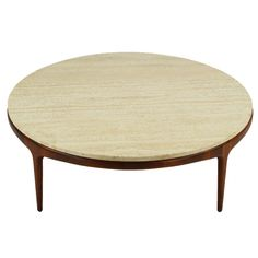 Italian Modern Round Figural Walnut & Travertine Coffee Table