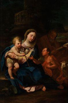 HEILIGE FAMILIE MIT JOHANNESKNABEN Öl auf Leinwand. Doubliert. Ca. 140 x 93 cm. (1090242) (12)