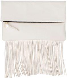 Clare Vivier Fringe Fold-Over Clutch Bag, Cream