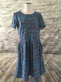 LuLaRoe Amelia Dress Plus Size 3XL Abstract Turquoise Floral Hidden Pockets NWOT  | eBay