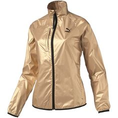 Puma Gold Windbreaker ($56) ❤ liked on Polyvore featuring activewear, activewear jackets, pale gold, puma activewear, puma sportswear and logo sportswear