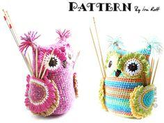 Hooty the Owl Buddy Hooks & Needles Organizer Crochet Pattern in PDF www.irarott.com