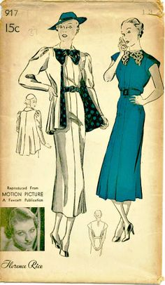 1930s Vintage Sewing Pattern - New York 917 - Florence Rice Day Dress with Swagger Jacket - Uncut and Factory-Folded