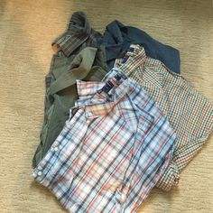 3 CROFT&BARROW and 2 SADDLEBRED Bundle SIZE XXL 5 ) Easy care machine washable long sleeve collared men's button down shirts. 1 sage green pinstriped, 1 pinstriped deep gray blue, 1 plaid mix grays, 1 mix blue plaid, 1 mix orange plaid. Used in great condition. ALL OFFERS WELCOME ! Croft & Barrow Tops Button Down Shirts