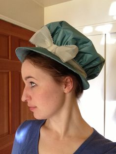 A little late in posting, I present to you my submission for HSF Challenge By the Sea . I'm so caught up in finishing my Gibson Girl ev. Silk Bonnet, Bonnet Hat, Regency Dress, Regency Era, Hats For Men, Man Hats, Gibson Girl, Silk Taffeta, Medieval Fashion