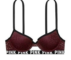 Victorias Secret Pink Push Up Bra Leopard Print Lace burgundy 36B *** Check out this great product.