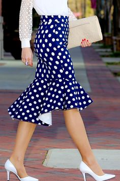 Navy polka dot high-low trumpet flamenco skirt from Choies Clothes. Even better if ruffle was seamless and part of the same pattern piece.